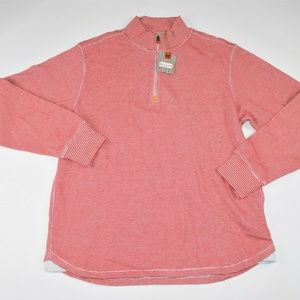 Robert Graham Gunther Red Cotton 1/2 Zip Sweater